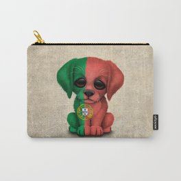 Cute Puppy Dog with flag of Portugal Carry-All Pouch