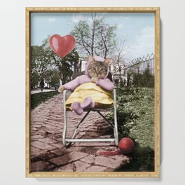 A pretty, little kitty with a heart-shaped balloon Serving Tray