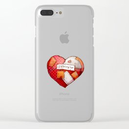 Heart with patches. Valentines day illustration. Clear iPhone Case