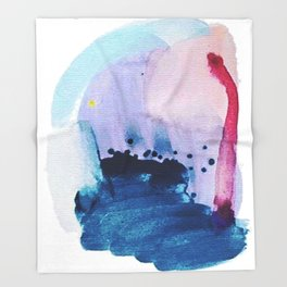 PYT: a minimal abstract mixed media piece on canvas in blues, pink, purple, and white Throw Blanket