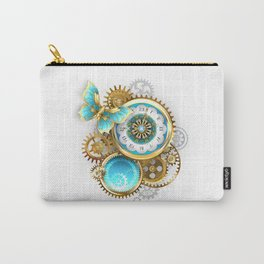 Clock and Gear with Butterfly ( Steampunk ) Carry-All Pouch