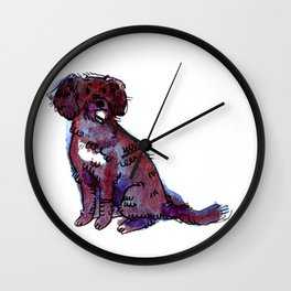 Polly - Dog Watercolour Painting Wall Clock