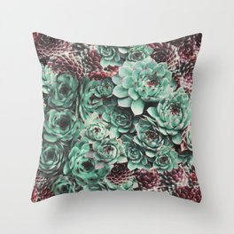 Succulent Sempervivum Plants Throw Pillow