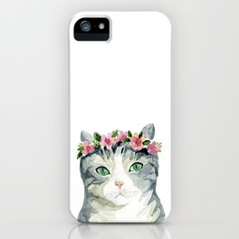 grey cat with flowers iPhone Case