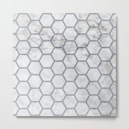 Honeycomb Marble Navy #871 Metal Print