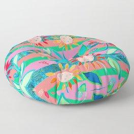 zakiaz flower stripe Floor Pillow