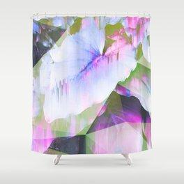Lush Foliage Glitch - Green and Pink Shower Curtain