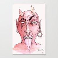 devil Canvas Prints featuring dEVIL by SpookyArt