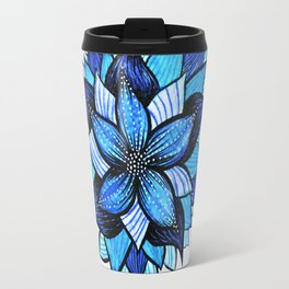 Abstract Blue Flower Ink Drawing Travel Mug