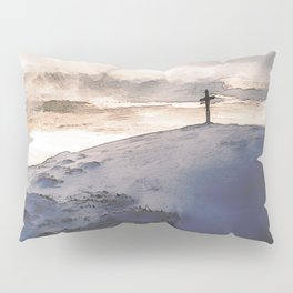 Christian Cross On Mountain Pillow Sham