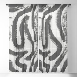 Black and White Abstract Pattern 1: A minimal black and white pattern by Alyssa Hamilton Art Sheer Curtain