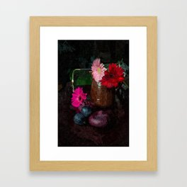 Still life with figs, onions and gerberas Framed Art Print