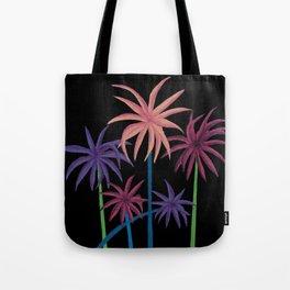 Neon Palms on Black Tote Bag