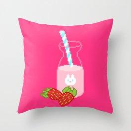 Strawberry Milk Throw Pillow