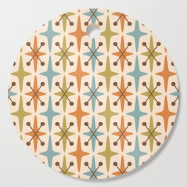 Mid Century Modern Abstract Star Pattern 441 Orange Brown Blue Olive Green Cutting Board