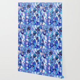 Modern blue acrylic abstract painting brushstrokes Wallpaper