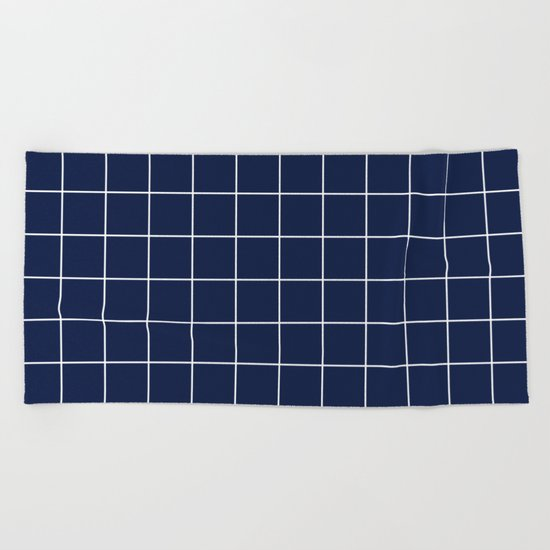 Indigo Navy Blue Grid Beach Towel