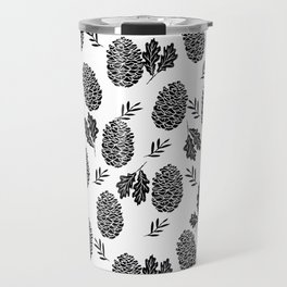 Linocut Pinecones fall autumn nature black and white minimalist botanical gifts Travel Mug
