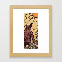 Stained glass daemon Framed Art Print