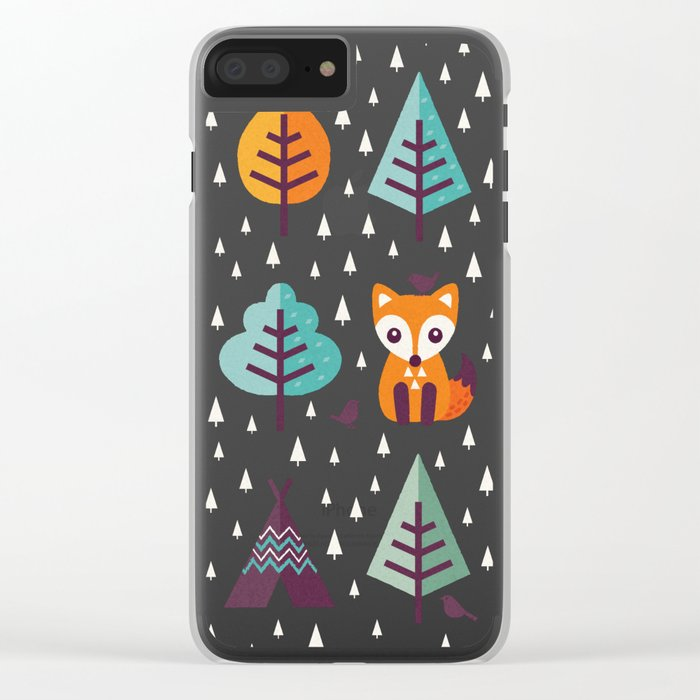 FOX IN THE FOREST Clear iPhone Case