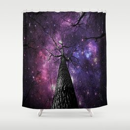 Wintry Trees Deep Purple Galaxy Skies Shower Curtain
