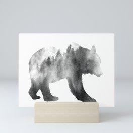 Bear Double Exposure Surreal Wildlife Animal Animals Wilderness Mini Art Print