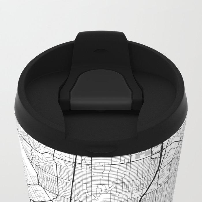 Dallas Map Gray Metal Travel Mug