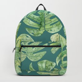 Jungle leaves Monstera leaves Palm leaves Tropical Backpack