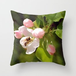 Apple Blossom and Bee Throw Pillow