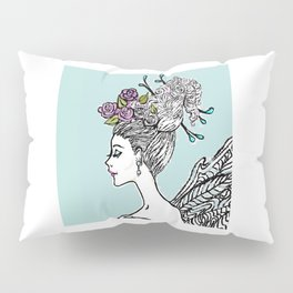 Wedding Princess Hair with Roses Pillow Sham