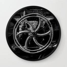 Steam Train Big Boy Valve Hand Wheel Detail Black and White Fine Art Photography Wall Clock