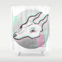 glitch Shower Curtains featuring Glitch by Sonia Lazo