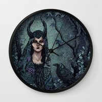 maleficent Wall Clocks featuring Maleficent by Angela Rizza