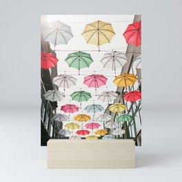 Ireland Dublin   Colorful street photography   Umbrella's Mini Art Print