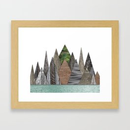 Textured Mountain Range in Minty Waters Framed Art Print