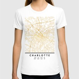 CHARLOTTE NORTH CAROLINA CITY STREET MAP ART T-shirt
