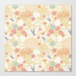 Yellow Japanese pond florals Canvas Print