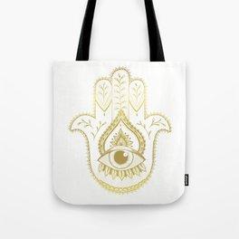 Hamsa Hand - Gold Tote Bag