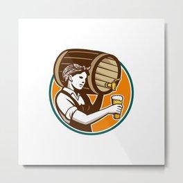 Woman Bartender Pouring Keg Barrel Beer Retro Metal Print