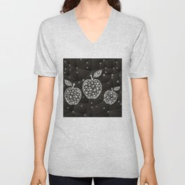 Abstract triangle apples with background Unisex V-Neck