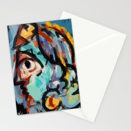 Woman and bird Stationery Cards