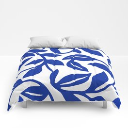 PALM LEAF VINE SWIRL BLUE AND WHITE PATTERN Comforters