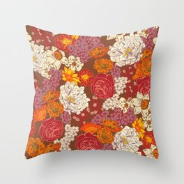 Retro Floral I Throw Pillow