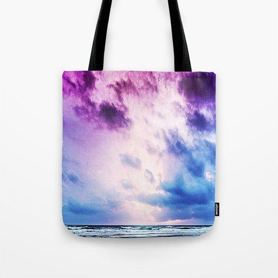 Cloudy shores Tote Bag