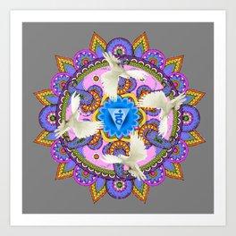 BLUE CHAKRA MANDALA WITH WHITE DOVES& PURPLE-GREY ART Art Print
