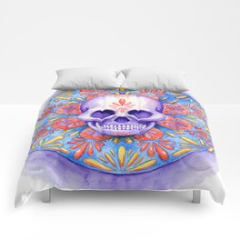 purple and blue smile Comforters