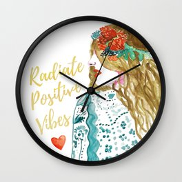 Radiate Positive Vibes Wall Clock