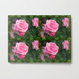 Pink Roses in Anzures 1 2x2 Dark Green Damask Metal Print