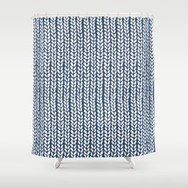 Knit Wave Navy Shower Curtain