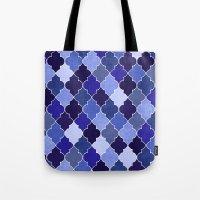 morocco Tote Bags featuring Morocco Blue by Jacqueline Maldonado